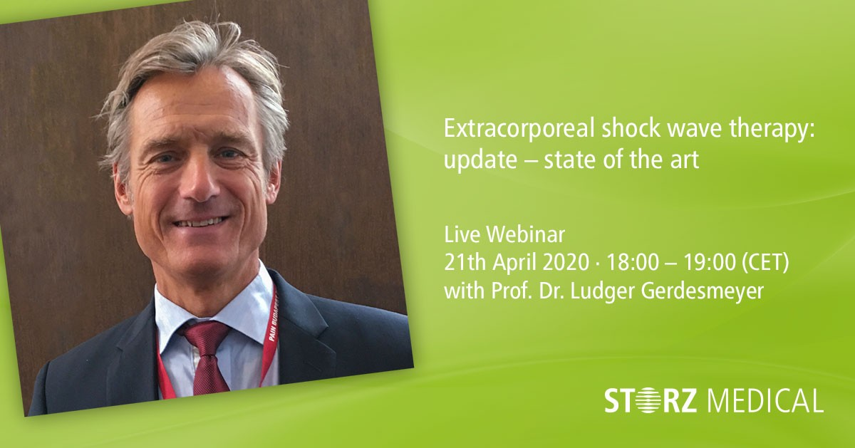 We are looking forward to our second STORZ MEDICAL live webinar on Tuesday, 21st April 2020 at 18:00 (CET)