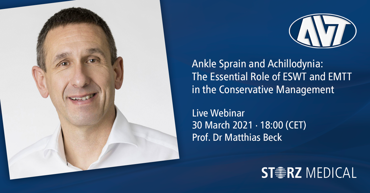 Seminario web en directo de STORZ MEDICAL » Ankle Sprain and Achillodynia: The Essential Role of ESWT and EMTT in the Conservative Management «, martes 30 de marzo de 2021