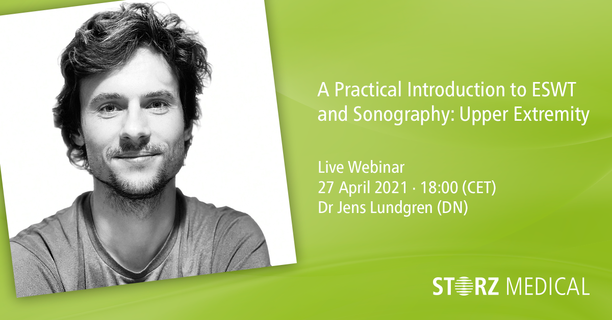Webinar live STORZ MEDICAL »A Practical Introduction to ESWT and Sonography: Upper Extremity« martedì 27 aprile 2021 · 18:00 - 19:00 (CET)